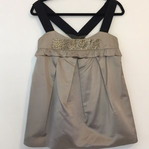 Vera Wang Lavender Label Gray beaded silk top